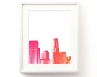 LA girls room wall art, Los Angeles print, baby nursery printable, California style, summer print, tropical colors, LA skyline