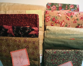 Flannel Yardage Coordinated 100% High End Quilt Shop Quality Cotton Quilting Sewing Fabric - Rust, Green, Red, Black, Ivory, Gold