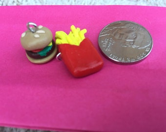 Burger & Fries Clay Charms
