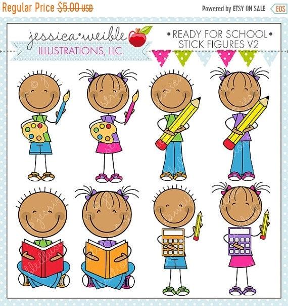 sale ready for school stick figures v2 cute digital clipart for rh etsystudio com free digital clipart for teachers digital clock clipart for teachers