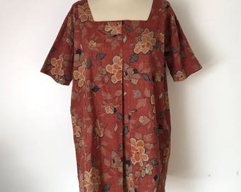 VINTAGE IKAT BLOUSE / Earth colors / Vintage blouse / French vintage / Rust brown / Tunic