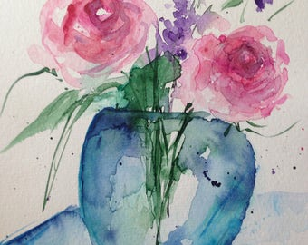 Original watercolor painting flowers flowers bouquet picture unique art Watercolor flowers