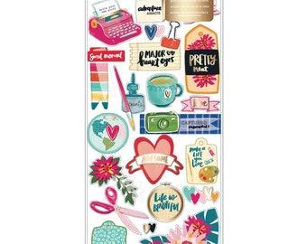 "Amy Tan Hustle & Heart Layered Paper Stickers 6""X12"" Gold Foil 20pcs (341885)"