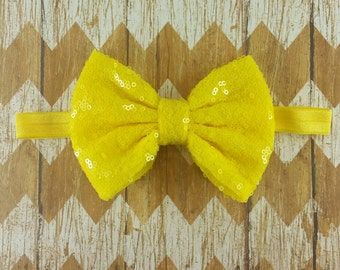 Yellow sequin bow headband, yellow bow headband, 5 inch sequin bow, girls headband, baby headband, adult sequin headband, yellow headband