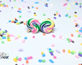 Lollipop Post Earrings, Stud Earrings, Miniature Candy, Mini Lollipop, Realistic Food, Candy Jewelry, Rainbow, Hypoallergenic, Titanium Stud