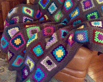 Traditional Patchwork Granny Square Homestead Blanket Afghan  Free Shipping USA