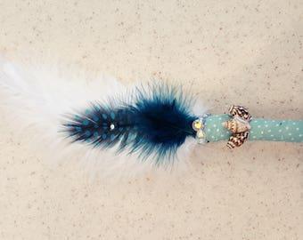 Seashell Smudge fan, Smudge fan, Sage fan, ceremonial fan, Smudge feather fan, sage feather fan, Ceremonial feather fan, Smudge feather