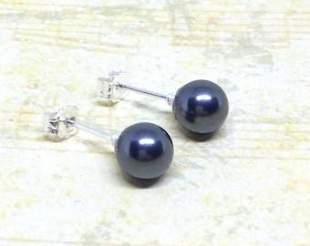 Grey Pearl Stud Earrings, Sterling Silver Pearl Studs, Dark Grey Earrings, Pearl Earrings, Pearl Stud Earrings, Bridesmaid Earrings