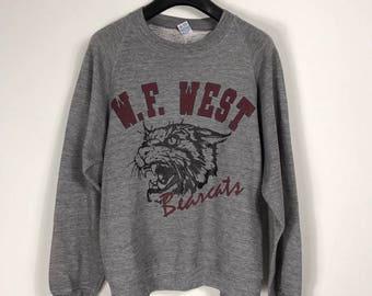 Vintage W.F. West High School Sweater Sweatshirt Gray Long Sleeve Bear Cats