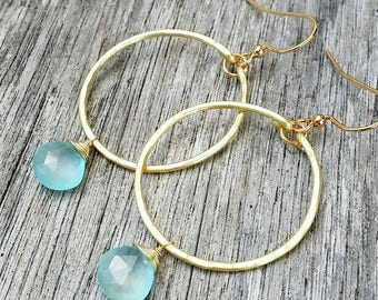 GP chalcedony teardrop briolette earrings