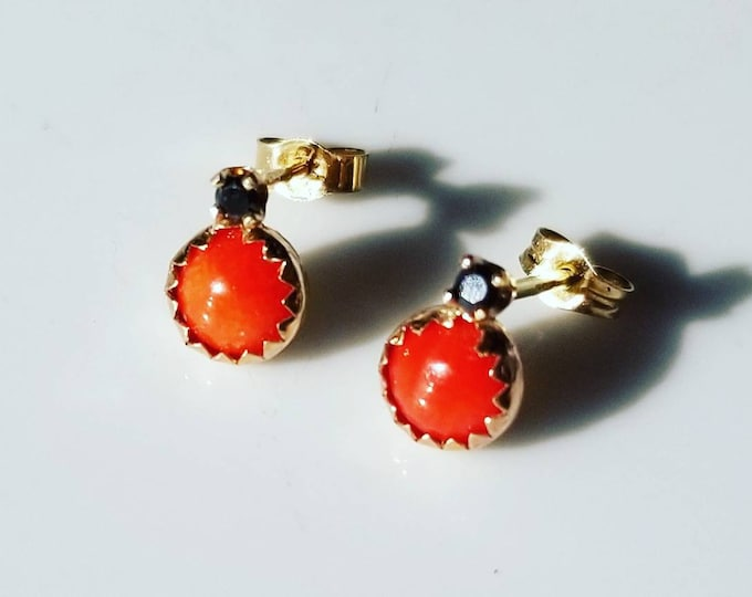 Featured listing image: Intriguing ladybugs coral and black diamond 14k gold stud earrings.