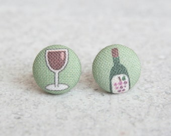 Red Wine Fabric Button Earrings