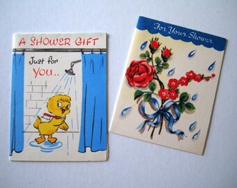SALE * Vintage 2 Cards - For Your Shower and A Shower Gift - Cute and Tiny by Heart To Heart and Happy Hearts cards