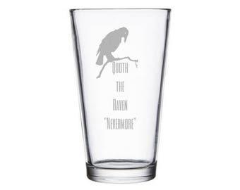 Nevermore pint glass - Edgar Allan Poe Gift - The Raven Gift - The Raven poem - Bookworm for her - Bookworm for him - Quoth the Raven - gift