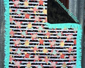 Stripes/Flowers With Turquoise Fringe Velvet Baby Blanket