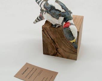 Woodpecker Pottery Bird Sculpture , bird sculpture, black&white, wooden, bird figurine, Hand Sculpted, Great Spotted Woodpecker,Specht