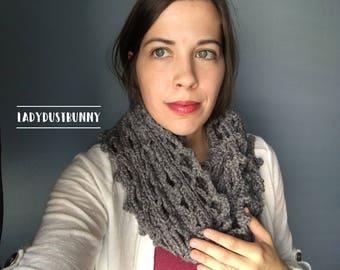 Grey Infinity Scarf, crochet scarf, knit infinity scarf, gray scarf