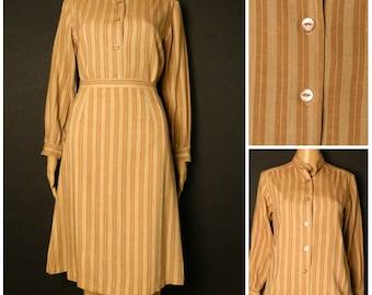 70s Cotton Linen caramel stripe ladies 2 piece high waist aline skirt and matching collarless blouse U.K. 6 - 8 S XS