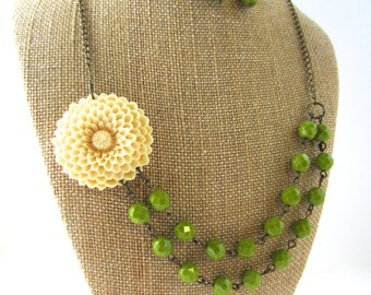 Flower Necklace Green Statement Necklace Green Jewelry Handmade Double Strand Necklace Beaded Bridesmaid Jewelry