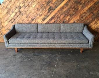 Mid Century Style Grey Sofa with Walnut Trim