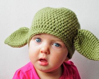 Crochet Yoda Hat - Newborn to Adult Sizes