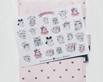 Cute Cat Mix Planner Stickers | Planner Stickers, Journal Stickers, Scrapbook, Bullet Journal, BUJO Stickers, Bullet Journal Stickers