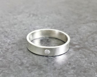 Modern Engagement/Promise Ring - Anniversary Band - Flush Set Gemstone Ring - Silver Gemstone Band - Handmade Sterling Silver Ring