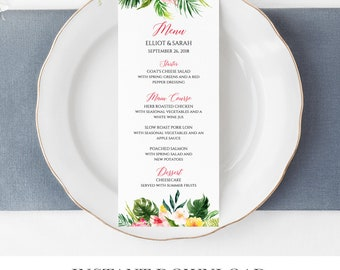 Tropical Editable Menu, Pink Green Tropical Floral Table Wedding Menu, Printable Menu, Template Calligraphy Instant Download Templett 508-A