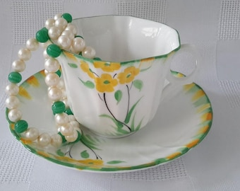 Melba Yellow Flowers Hand Painted Tea Cup and Saucer, England