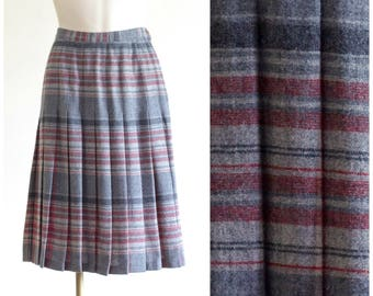 Gray plaid pleated wool skirt from Petite Pendleton