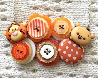 Button Necklace - Tigger & Pooh