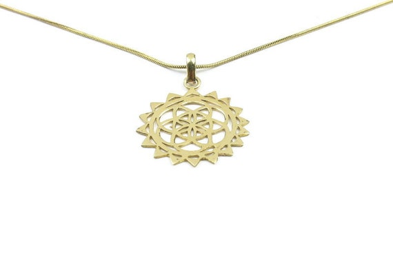 Seed of Life brass necklace, Sacred Geometry necklace, seed of life pendant, Geometric power necklace