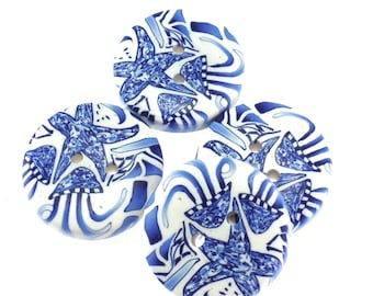 Colorful Handmade Polymer Clay Buttons 3/4 inch, Delft Design, Ocean