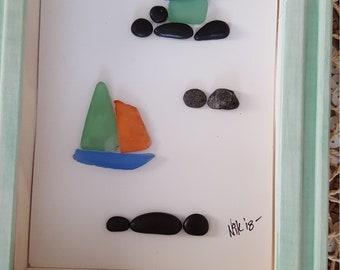 Sea glass and pebble art sail boat