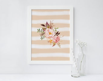 PRINTABLE Art Watercolor Peach Floral Watercolor Stripe Floral Floral Art Print Floral Wall Art Nursery Decor Pink and Peach Floral