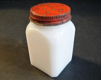 Vintage Spice Jar Shaker or Container with Lid - white milk glass, red metal lid- kitchenware, retro, farmhouse, housewares, cottage chic