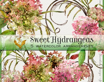 Watercolor clipart, hand painted clipart, hydrangea clipart, boho wedding clipart, fall clipart, watercolor hydrangea, clipart hydrangea