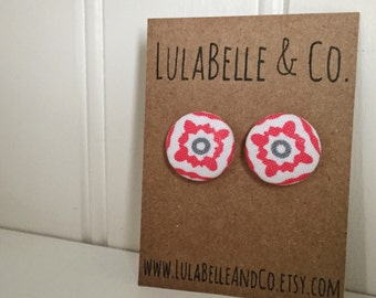 CLEARANCE! Coral Bloom Button Earring