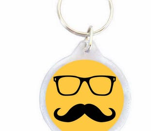 Yellow mustache key chain