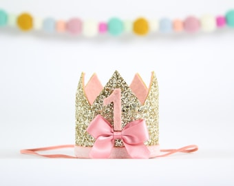 First Birthday Crown | 1st Smash Cake Glitter Bow Crown | 1st Birthday Photo Prop Hat | Gold + Blush 1