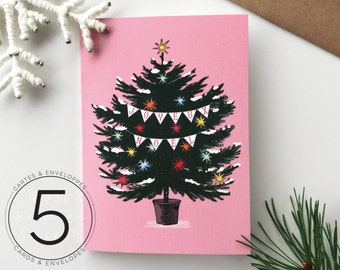 Set of 5 Christmas Cards and Envelopes - Oh Christmas Tree - Christmas Tree, Christmas Ornements, Christmas Decorations, Pastel Colours