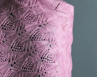 INSTANT DOWNLOAD PDF Knitting Pattern for Women's Lace Shawl Wrap Stole Rectangular with Lace Merino Opulence