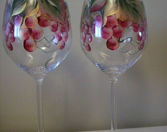 Burgundy Red Gold Grapes Large Wine Glass Hand Painted Dishwasher Safe