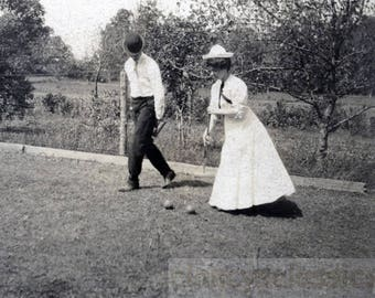 vintage photo 1910 Man Woman Play Croquet on the Lawn
