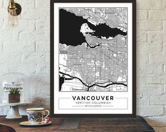 Vancouver map etsy vancouver british columbia canada city map poster printable print gumiabroncs Choice Image