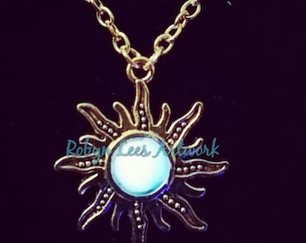 White Glow in the Dark Art Nouveau Sun Necklace on Silver