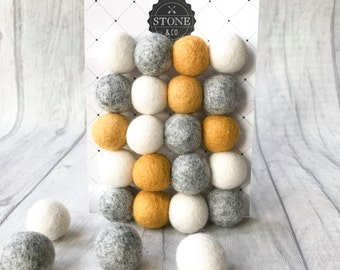 Felt Ball Pom Pom Garlands in Natural Grey, Mustard, White For Nursery, Bedrooms, Decorations, Decor