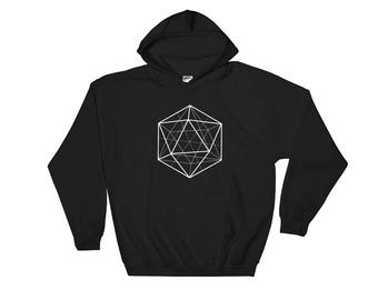 3D Sacred Geometry Dice D20 Hooded Sweatshirt