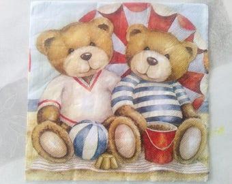 set of 2 Beach bear paper napkins