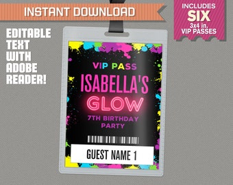 Neon Glow Party Pass printable Insert - Neon Glow Party Vip Pass - Glow in the Dark Party - Edit and print at home with Adobe Reader!